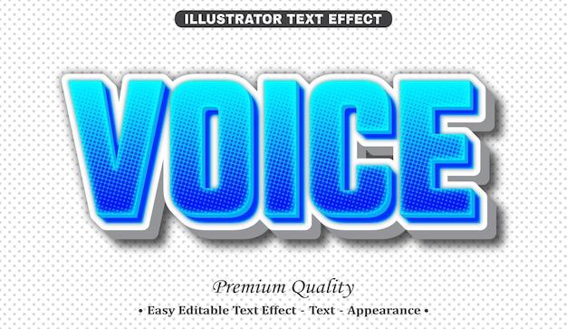 Voice 3d text style effect Premium Vector