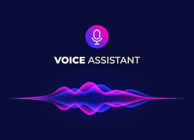Voice assistant concept page. personal mobile voice recognition, abstract sound waves. microphone icon and neon music equalizer. Premium Vector
