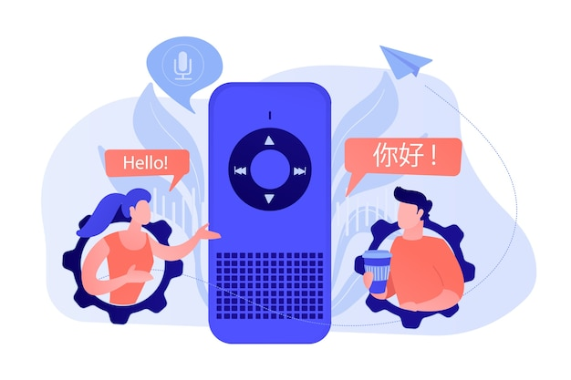 Voice assistant translating into foreign languages. voice activated digital assistants, smart speaker language support, internet of things concept. vector isolated illustration. Free Vector