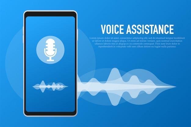 Voice assistant and voice recognition concept Premium Vector