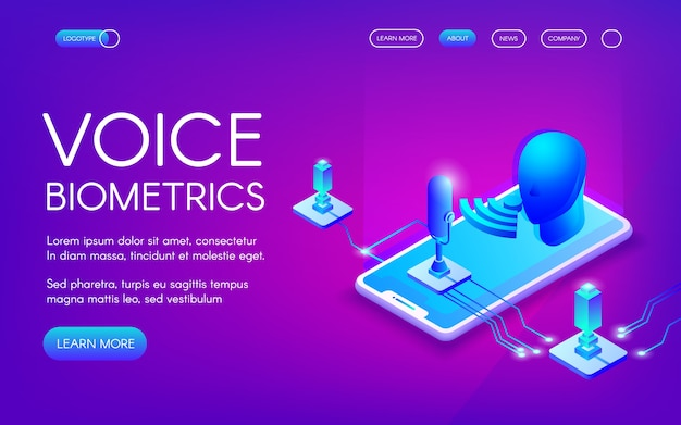 Voice biometrics technology illustration for\ personal identity recognition