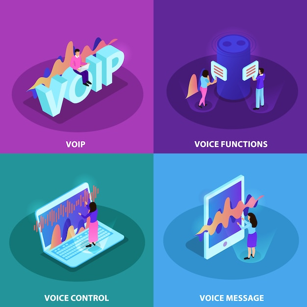 Voice control 2x2 design concept set of square icons demonstrating modern devices with functions of voice recognition and voip communication isometric Free Vector