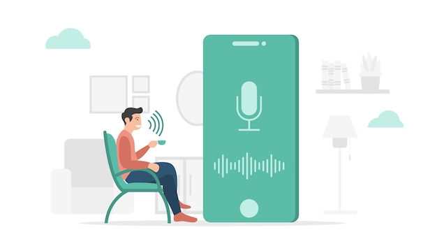 Voice control technology application hardware on smartphone with modern flat style and minimalist green color theme Premium Vector