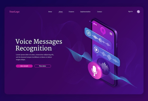 Voice messages recognition banner. mobile application for recording sound, dictate messages and speech. landing page with isometric illustration of smartphone with voice chat and microphone Free Vector