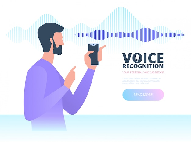Voice recognition. intelligent voice personal assistant technology concept. Premium Vector
