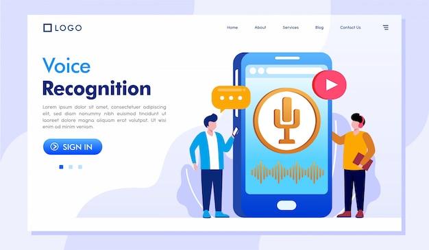 Voice recognition landing page website illustration vector Premium Vector
