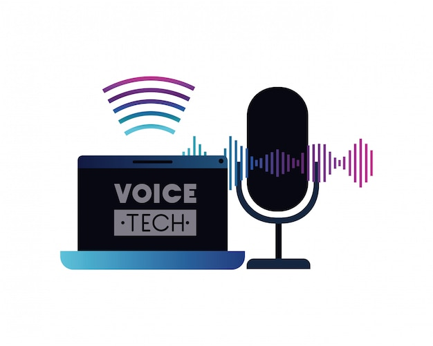 Voice tech label with laptop and voice assistant Premium Vector