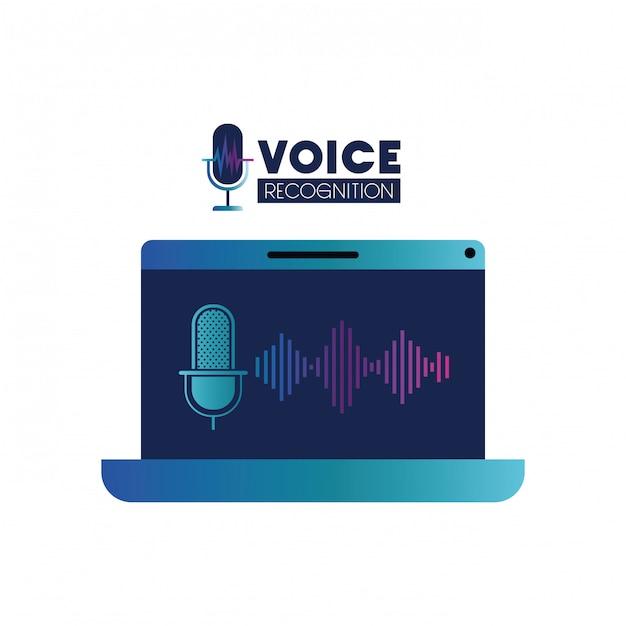 Voice tech label with laptop and voice assistant Premium Vector
