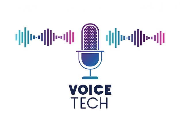 Voice tech label with microphone and sound wave Premium Vector