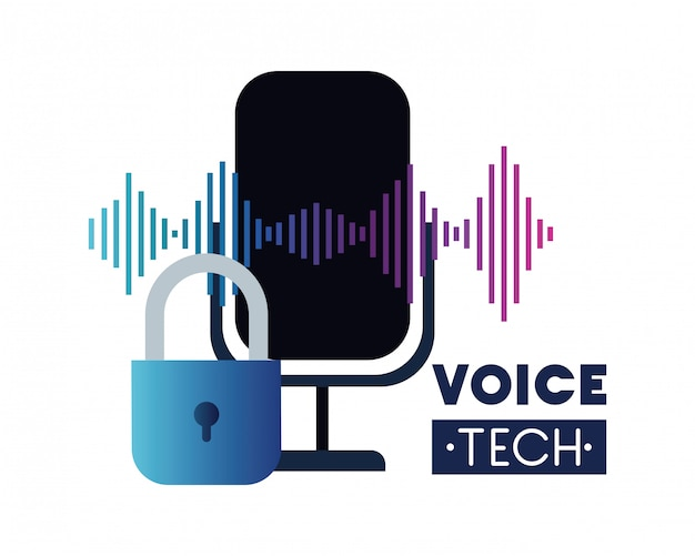 Voice tech label with security padlock and microphone Premium Vector