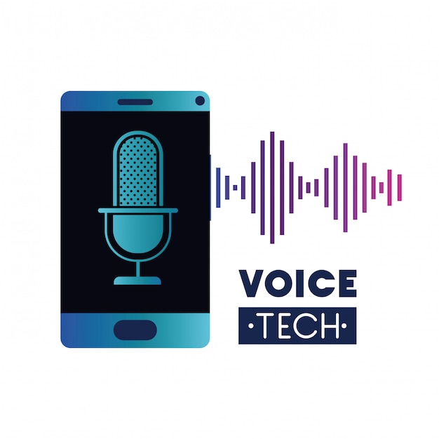 Voice tech label with smartphone and voice assistant Premium Vector