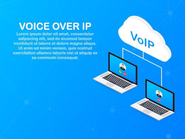 Voipテクノロジー、voice over ip。インターネット呼び出しバナー。 Premiumベクター
