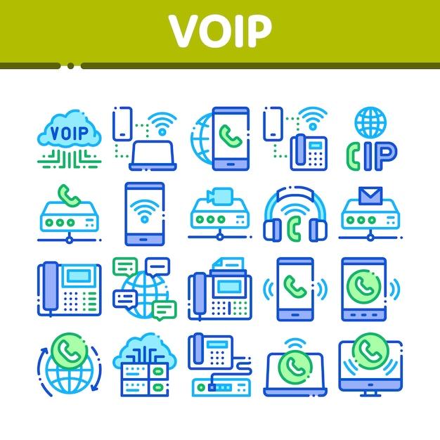 Voip呼び出しシステムコレクションのアイコンを設定 Premiumベクター