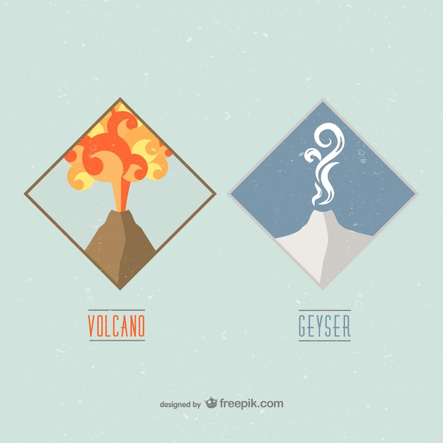 Volcano and geyser badges Free Vector