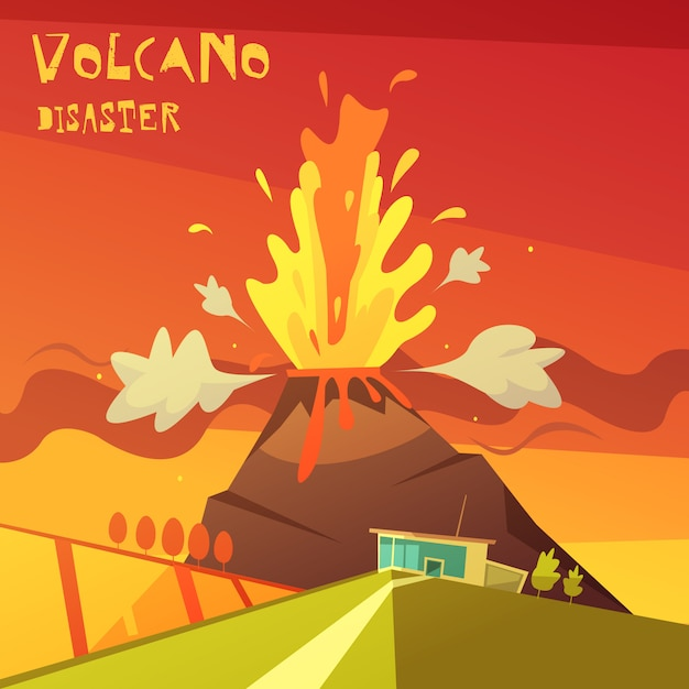 Volcano disaster illustration Free Vector