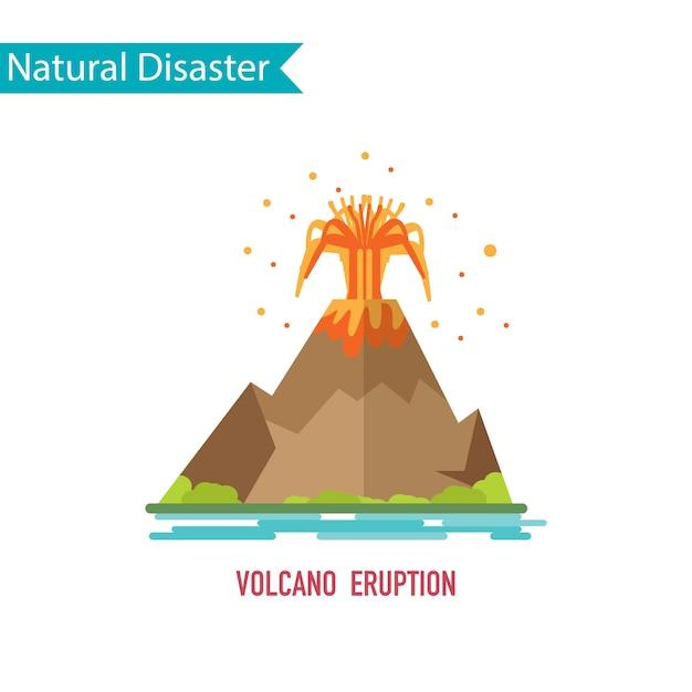 Volcano eruption disaster in flat design concept Premium Vector