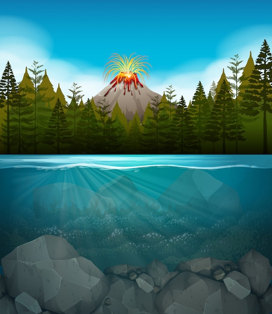Volcano eruption at the forest Premium Vector