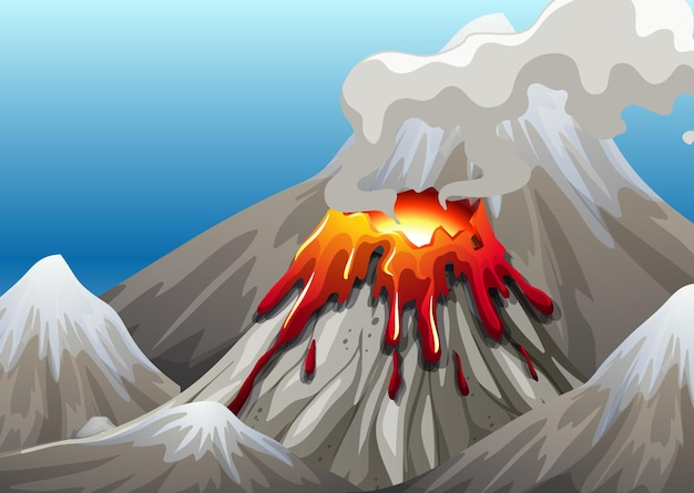 Volcano eruption in nature scene at daytime Free Vector