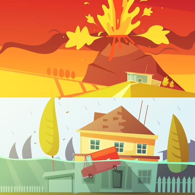 Volcano and flood cartoon banner Free Vector