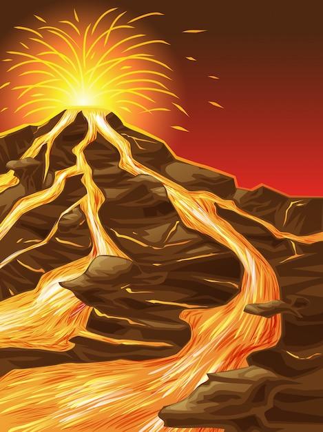 The volcano is broken. Premium Vector