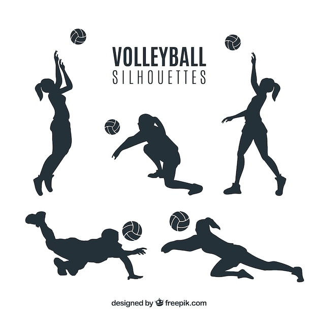 Voleyball coloured uniform silhouettes Free Vector