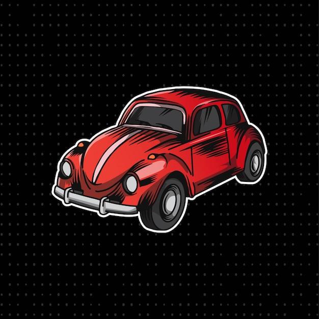 Рука рисовать классический volkswagen Premium векторы