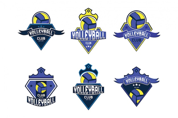 Volley ball logo collection Premium Vector