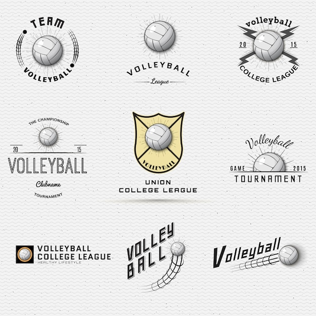 Volleyball badges logos and labels can be used for design Premium Vector