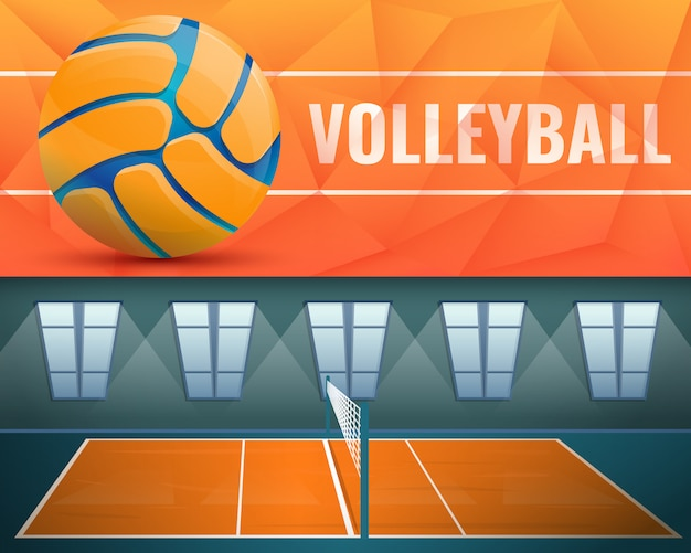 Volleyball illustration set on cartoon style Premium Vector