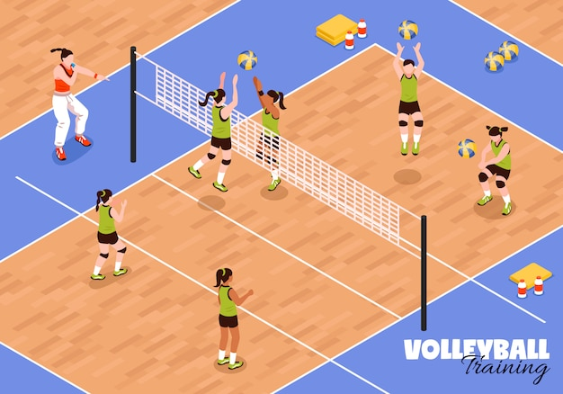 Volleyball kids team background Free Vector