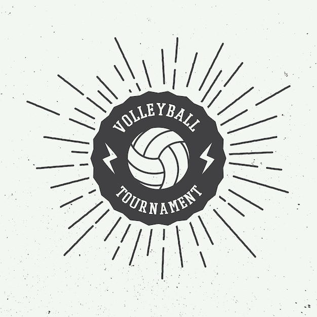 Volleyball label Premium Vector