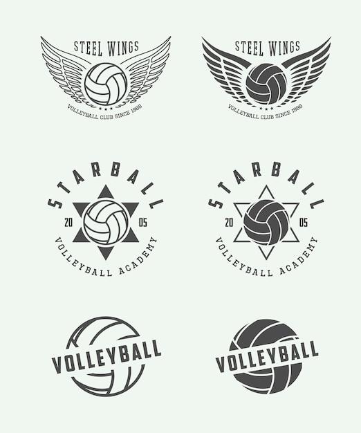 Volleyball labels, emblems Premium Vector