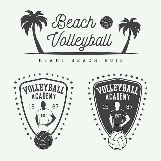 Volleyball labels Premium Vector
