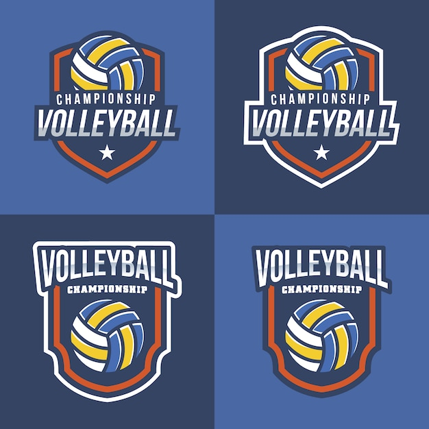 Volleyball logo collection with blue\ background