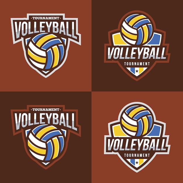 Volleyball logo collection with brown\ background