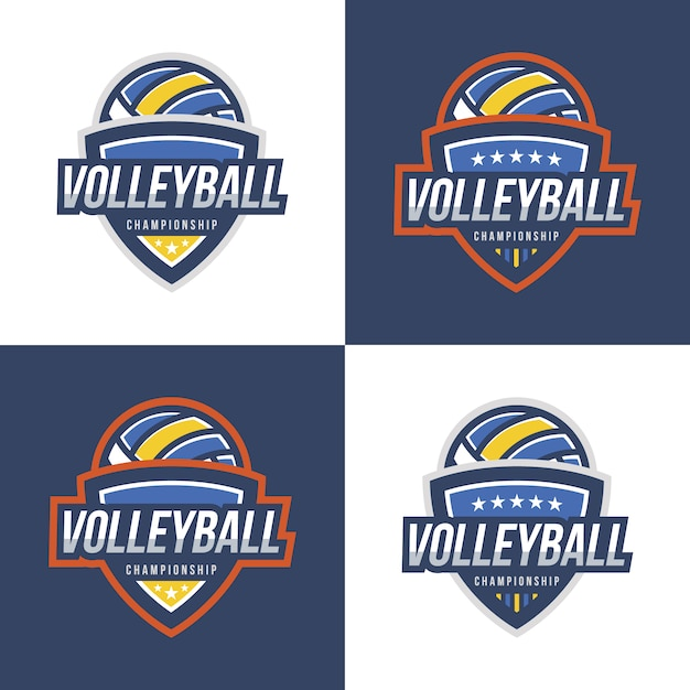 volleyball logo design collection vector free download