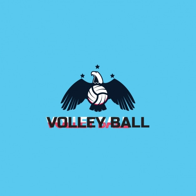 Volleyball logo with a blue background