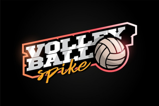 Volleyball mascot modern professional sport typography in retro style. Premium Vector