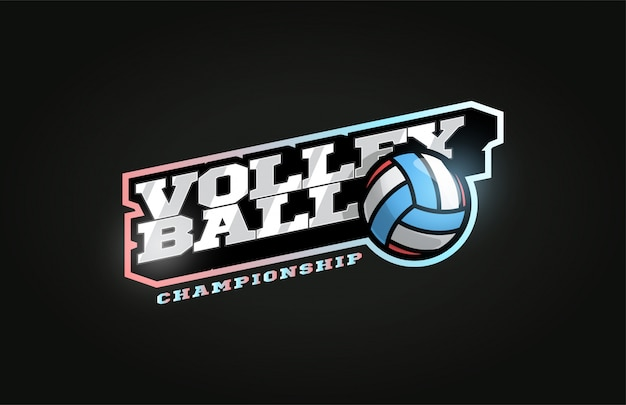 Volleyball modern professional sport logo in retro style Premium Vector