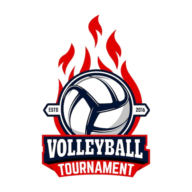 Volleyball tournament. label template with volleyball ball.  element for logo, label, emblem, badge, sign. Premium Vector