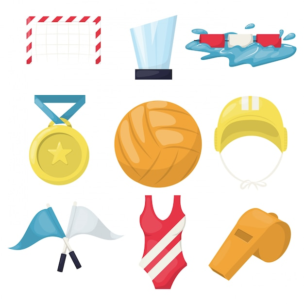 Volleyball water sport player accessories beachball. healthy volley ball training pool. water polo club beach volleyball. serve game team play volleying. Premium Vector