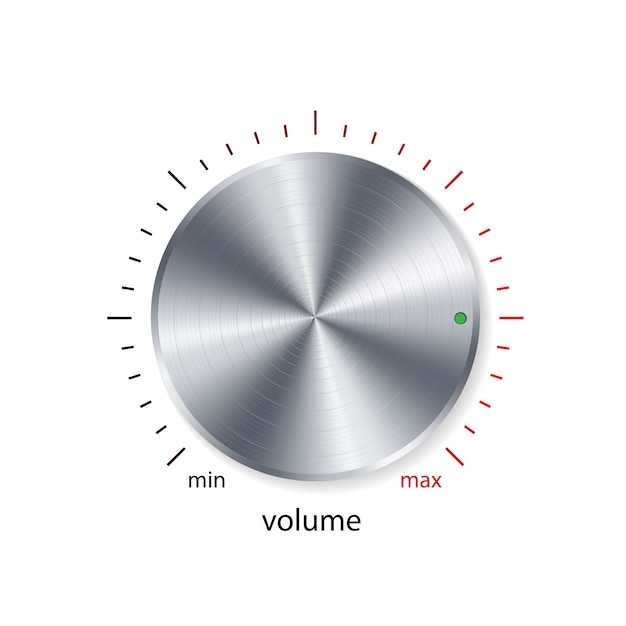 Volume button, sound control, music knob with metal chrome Vector