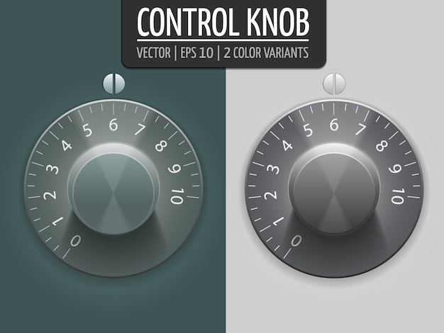 Volume control knobs, vector illustration. ui element for your design. eps10 Free Vector