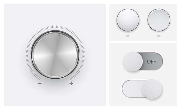 オフボタンアイコンセットの音量レベルコントロール Premiumベクター