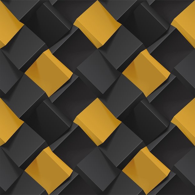 Volumetric abstract texture with black and gold cubes. realistic geometric seamless pattern for backgrounds, wallpaper, textile, fabric and wrapping paper. photo-realistic illustration. Premium Vector