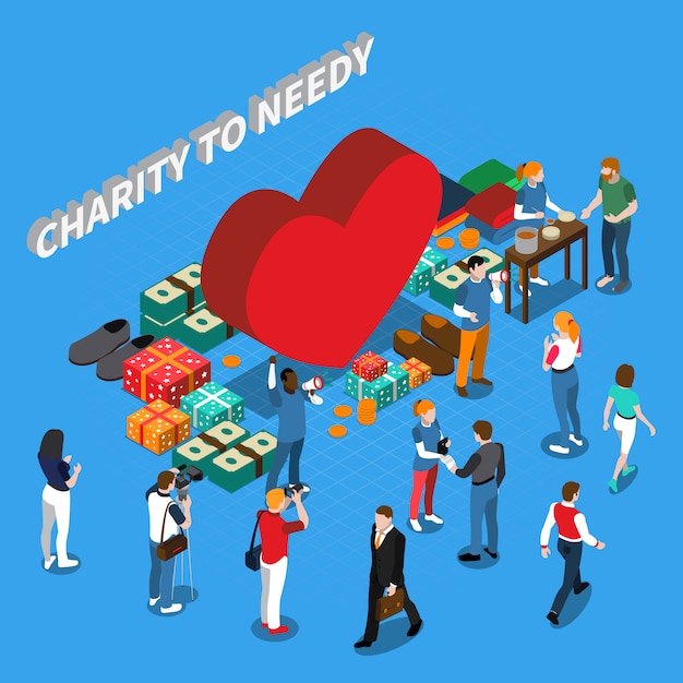 Volunteer charity people isometric concept Free Vector