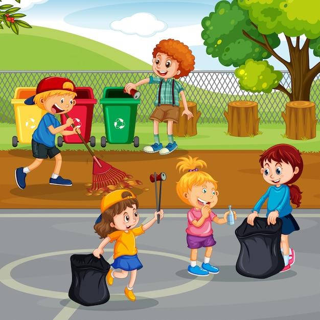 Volunteer children cleaning park Premium Vector