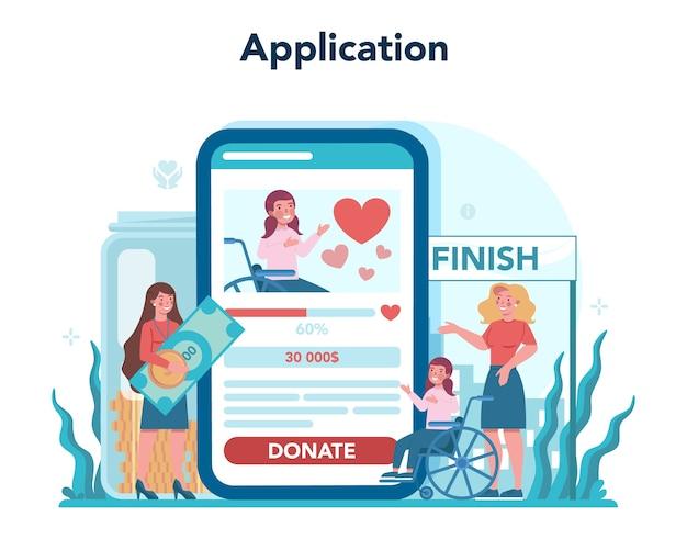 Volunteer online service or platform. charity community support people in need. Premium Vector