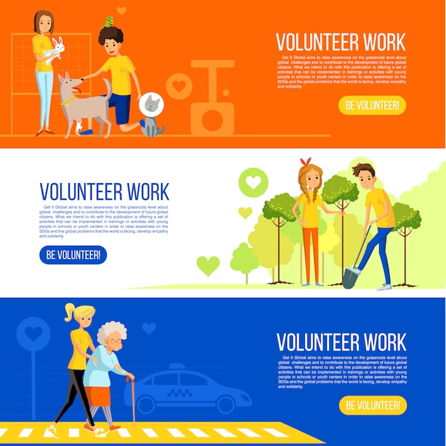 Volunteer people colored flat banner collection Free Vector