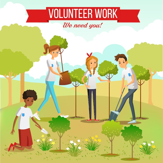 Volunteer planting trees in the park Free Vector